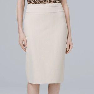 WHBM Luxe Herringbone Suiting Pencil Skirt